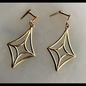 Jewelry - 10k Gold Earrings Dangle Art Deco Kite-shape